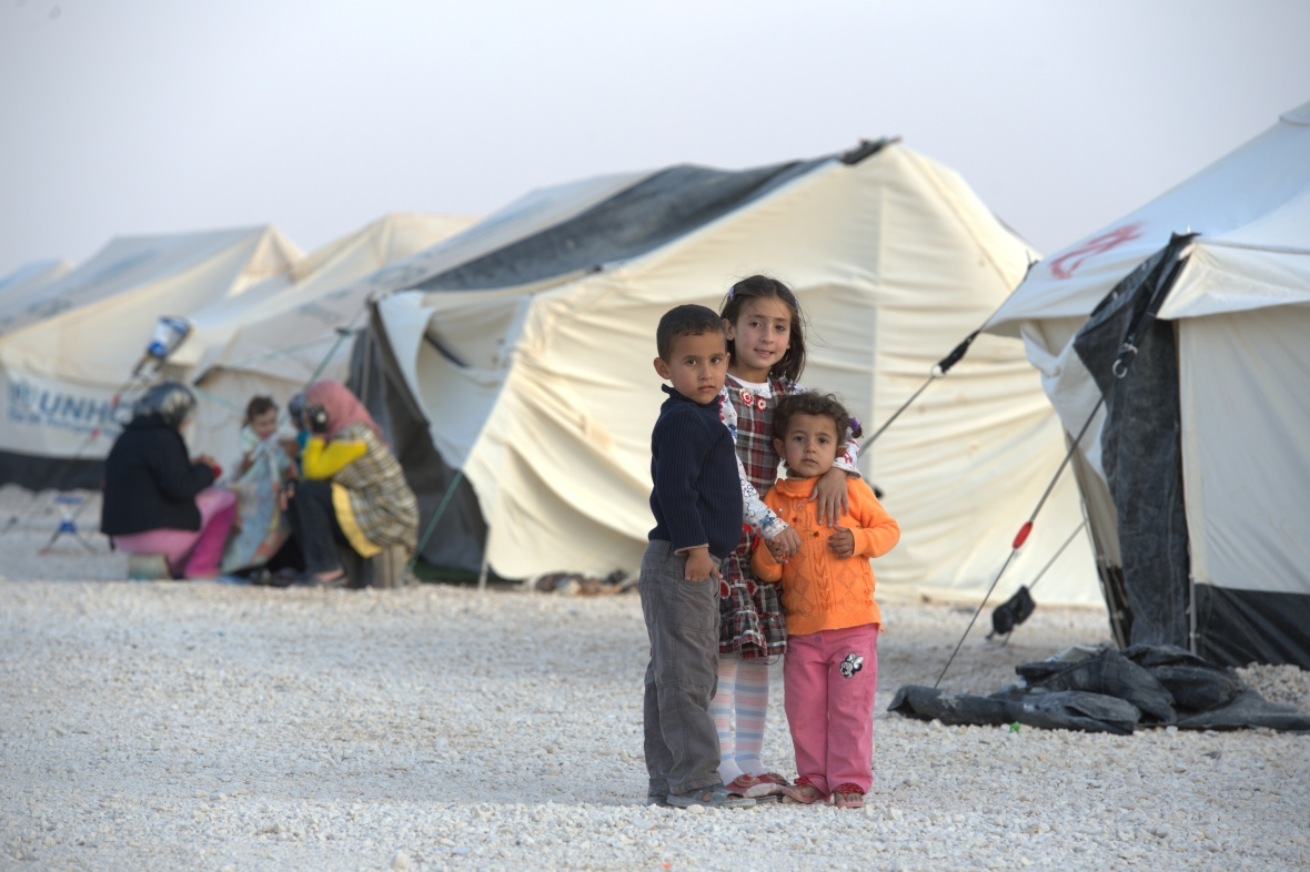 Children in the Zaatari Refugee Camp, located near Mafraq, Jordan. Opened in July, 2012, the camp holds upwards of 20,000 refugees from the civil war inside Syria. International Orthodox Christian Charities and other members of the ACT Alliance are active in the camp providing essential items and services.